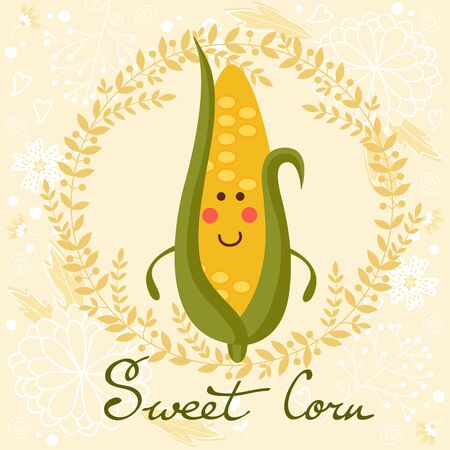sweet corn: Cute sweet corn character illustration on a floral background with soft colors