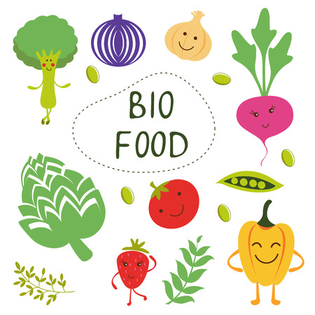 organic food: Colorful organic food collection in vector format