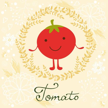 soft colors: Cute tomato character illustration on a floral background with soft colors Illustration