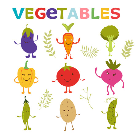green peas: Adorable vegetable cartoon characters set. Happy eggplant, carrton, broccoli, pepper, tomato, beet, green peas, potato and cucumber