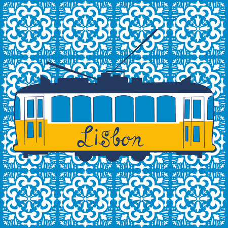 european culture: Colorful illustration of traditional Lisbon tram in vector