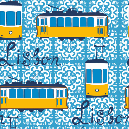 tramway: Colorful seamless pattern with tipical Lisbon tram. Vector illustration