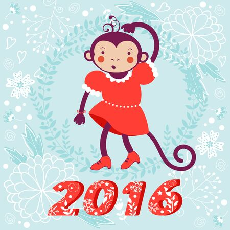 soft colors: 2016 card with cute funny monkey character on floral background in soft colors. Vector illustration