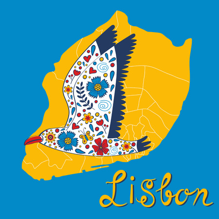 portugese: Colorful card with map of Lisbon and seagull. vector illustration