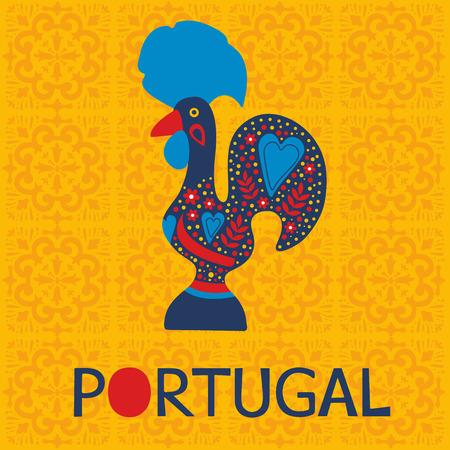 gallo: Ilustraci�n de decorado Barcelos s�mbolo gallo de Portugal. Ilustraci�n vectorial