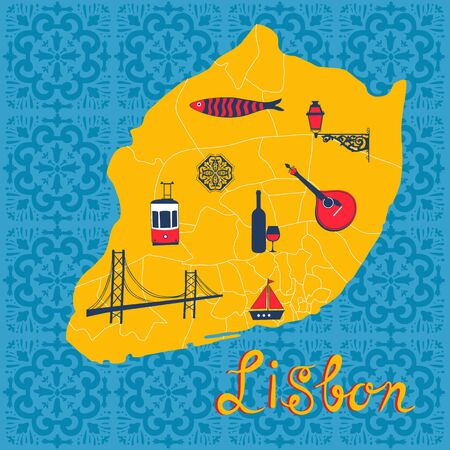 portugese: Colorful stylized map of Lisbon with tipical icons and illustrations. vector illustration
