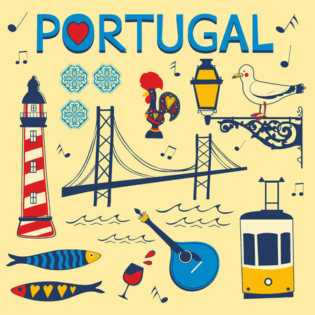 port wine: Stylish collection of typical Portuguese icons. Vector illustration Illustration