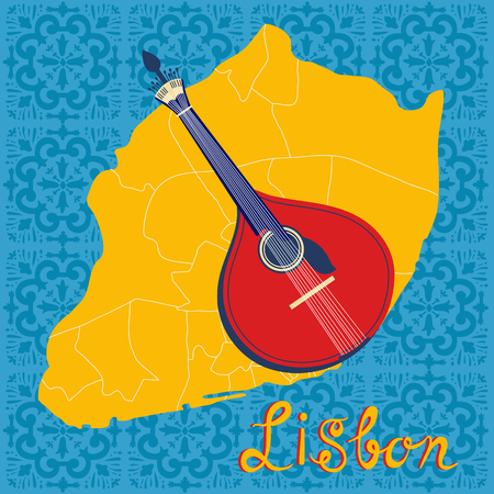 portugese: Tipical portuguese fado guitar over Lisbon map and azulejo tiles background. vector illustration