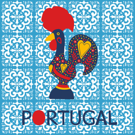 Illustration of decorated Barcelos rooster symbol of Portugal. Vector illustration Vectores