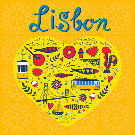 tramcar: Travel concept card. Illustration of love for Lisbon - heart with vector icons. Vector illustration