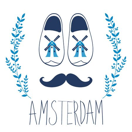 dutch: Colorful Amsterdam composition with shoes and mustache. vector illustration