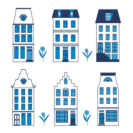 amsterdam canal: Cute Amsterdam houses colorful set. Vector illustration
