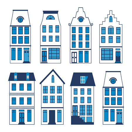 canal street: Cute Amsterdam houses colorful set. Vector illustration