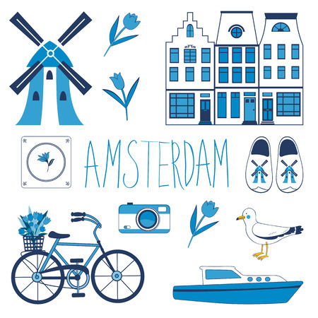 bycicle: Colorful Amsterdam related icons set. vector illustration