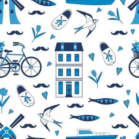 narrow street: Colorful Amsterdam icons seamless pattern. Vector illustration