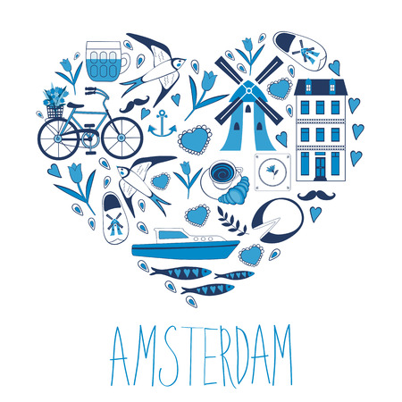 bycicle: Travel concept card. Illustration of love for Amsterdam - heart with vector icons