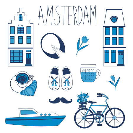 holland: Colorful Amsterdam related icons set. vector illustration