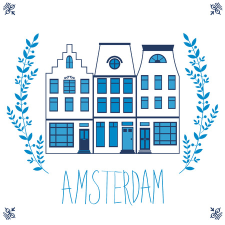 cityscape: Cute Amsterdam houses colorful set. Vector illustration