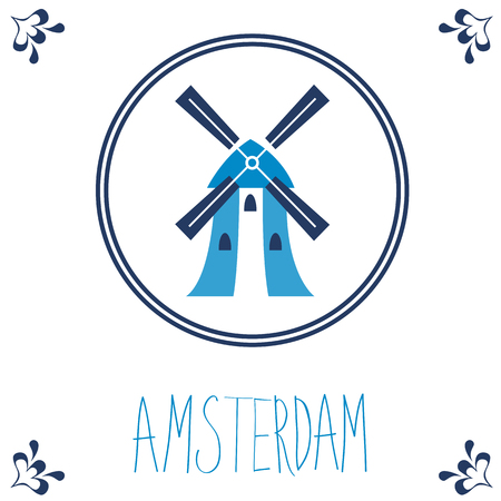 dutch tiles: Dutch blue tile with windmill. Illustration in vector format