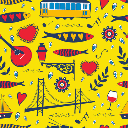 tramcar: Seamless pattern with traditional portuguese elements. vector illustration Illustration