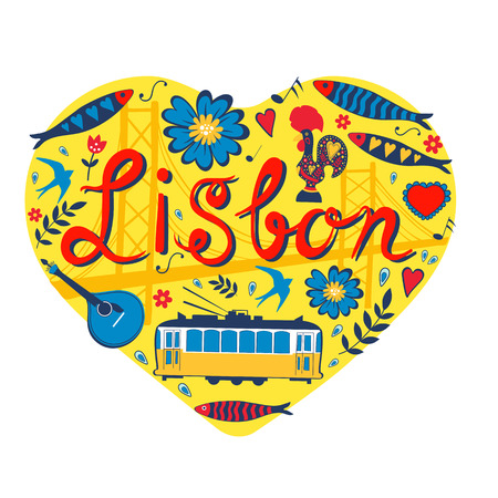 lisbon: Travel concept card. Illustration of love for Lisbon - heart with vector icons