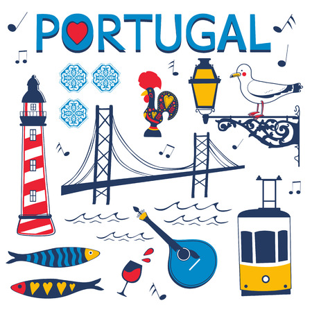 tramcar: Stylish collection of typical Portuguese icons. Vector illustration Illustration