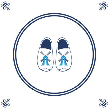 clog: Dutch tile with cloggs - typical Dutch shoes. vector illustration