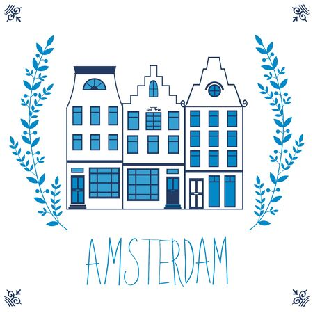 narrow street: Cute Amsterdam houses colorful set. Vector illustration