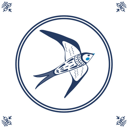 dutch tiles: Dutch blue tile with swallow. Illustration in vector format