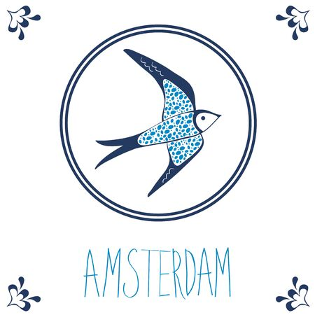 dutch: Dutch blue tile with swallow. Illustration in vector format