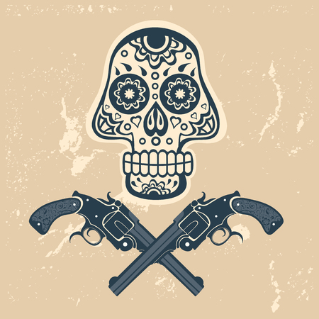 head shot: Hand drawn skull with guns on a grungy background in vintage style. Vector illustration