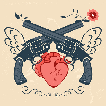 human vector: Vintage style emblem with human heart and two revolvers. Vector illustration