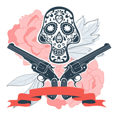 head shot: Hand drawn skull with guns and flowers in vintage style. Vector illustration