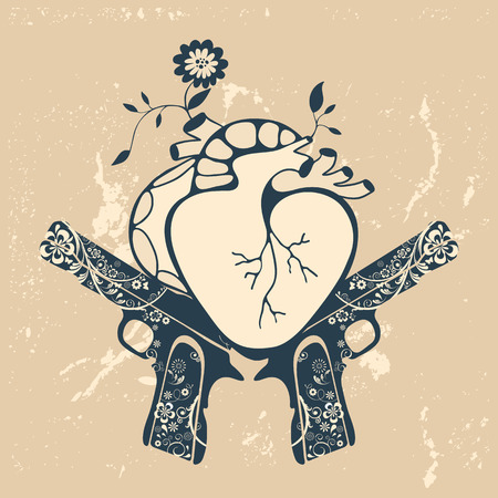 flower heart: Vintage style emblem with human heart and two revolvers. vector illustration