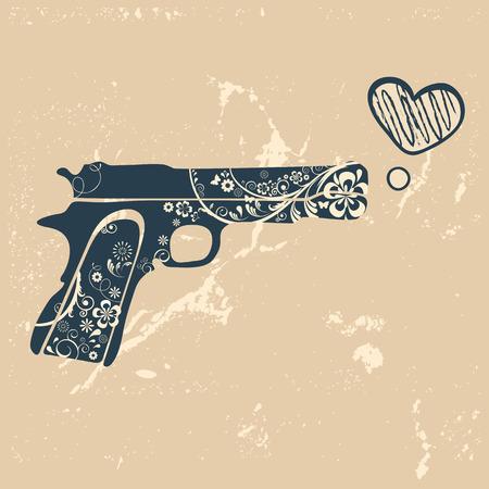gangster with gun: Love gun. Vintage emblem with gun shooting a heart. vector illustration
