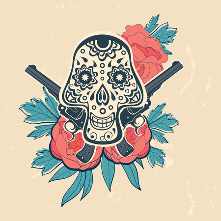 revolver: Hand drawn skull with guns and flowers in vintage style. Vector illustration