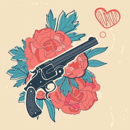 pistola: Revólveres Clásico y rosas emblema. ilustración vectorial