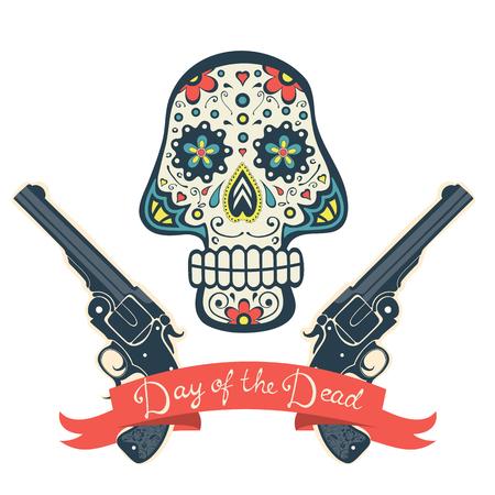 calavera caricatura: Cráneo del azúcar con las armas del Día de Todos los Santos, la tarjeta del vintage. Ilustración vectorial