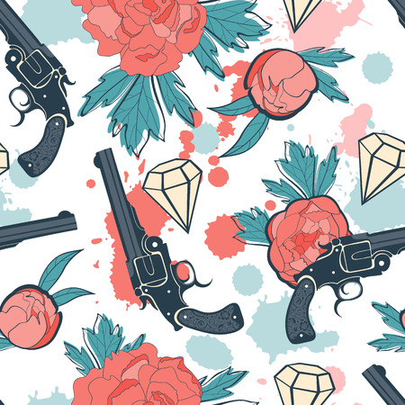 revolver: Colorful seamless pattern with guns, diamonds and flowers. vector illustration