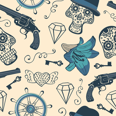 vintage gun: Colorful seamless pattern with guns, diamonds and flowers. vector illustration