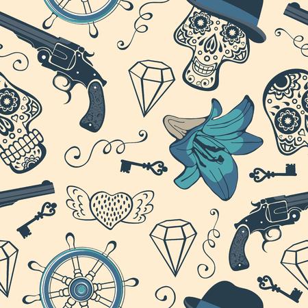 pistola: Modelo inconsútil colorido con las armas, diamantes y flores. ilustración vectorial Vectores