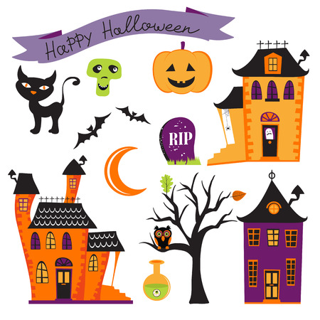 Cute colorful halloween elements collection. Vector illustration Vettoriali