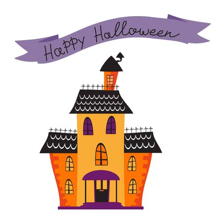 spooky house: Halloween card with haunted house. vector illustration