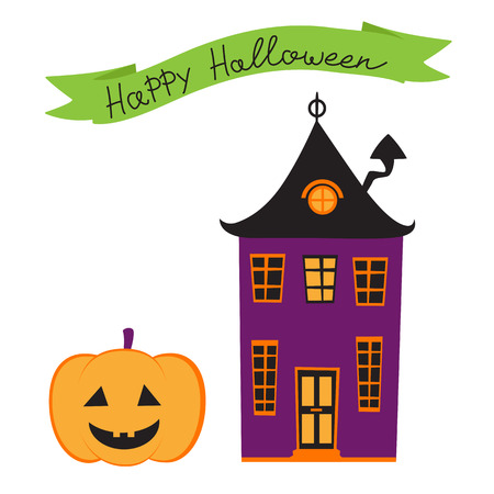 house illustration: Halloween card with haunted house. vector illustration