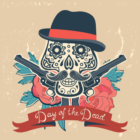 head shot: Day of the dead card with vintage skull, flowers and guns. vector illustration