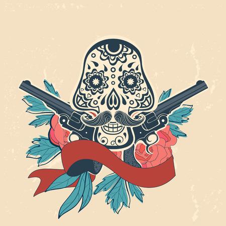 skull and flowers: D�a de la tarjeta muerta con cr�neo vintage, flores y armas. ilustraci�n vectorial