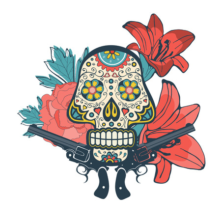 skull and flowers: Day of the dead card with vintage skull, flowers and guns. vector illustration