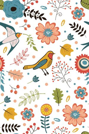 spring green: Colorful blooming flowers seamless pattern. Vector illustration Illustration