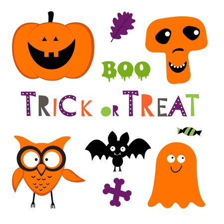 fruit candy: Fun Halloween set with pumpkin, owl, bat, ghost and skull. vector illustration Illustration