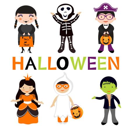 brujas caricatura: Lindos coloridos ni�os de Halloween conjunto. Ilustraci�n vectorial